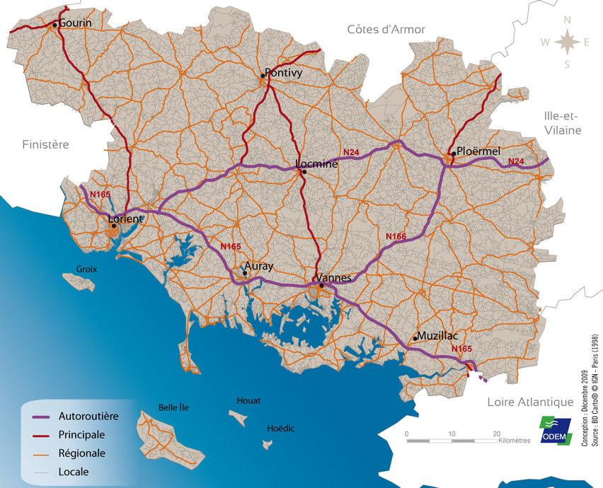 morbihan carte routiere