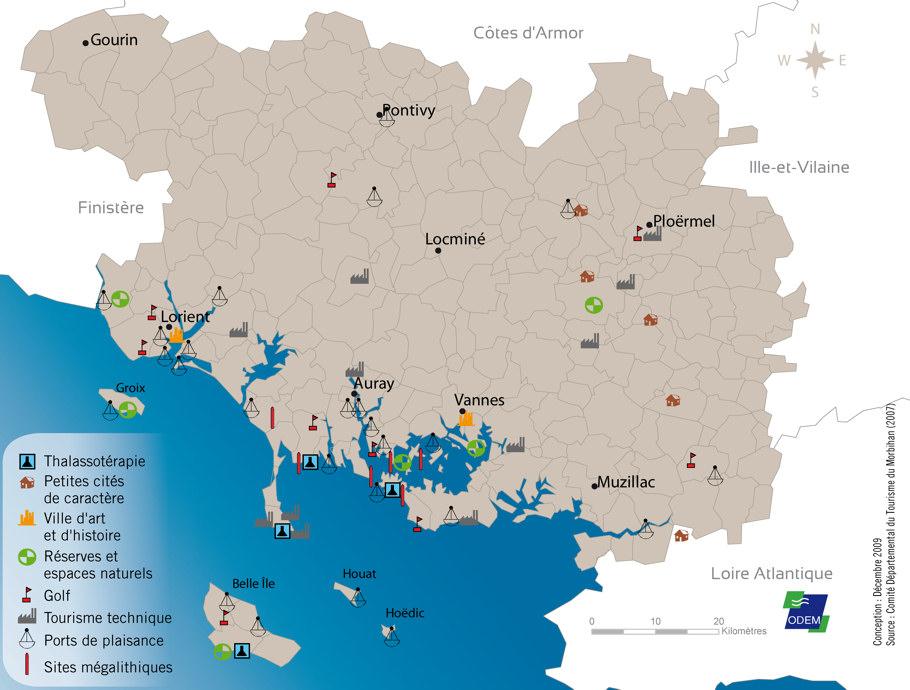 Morbihan carte touristique voyages cartes - Office tourisme bretagne morbihan ...