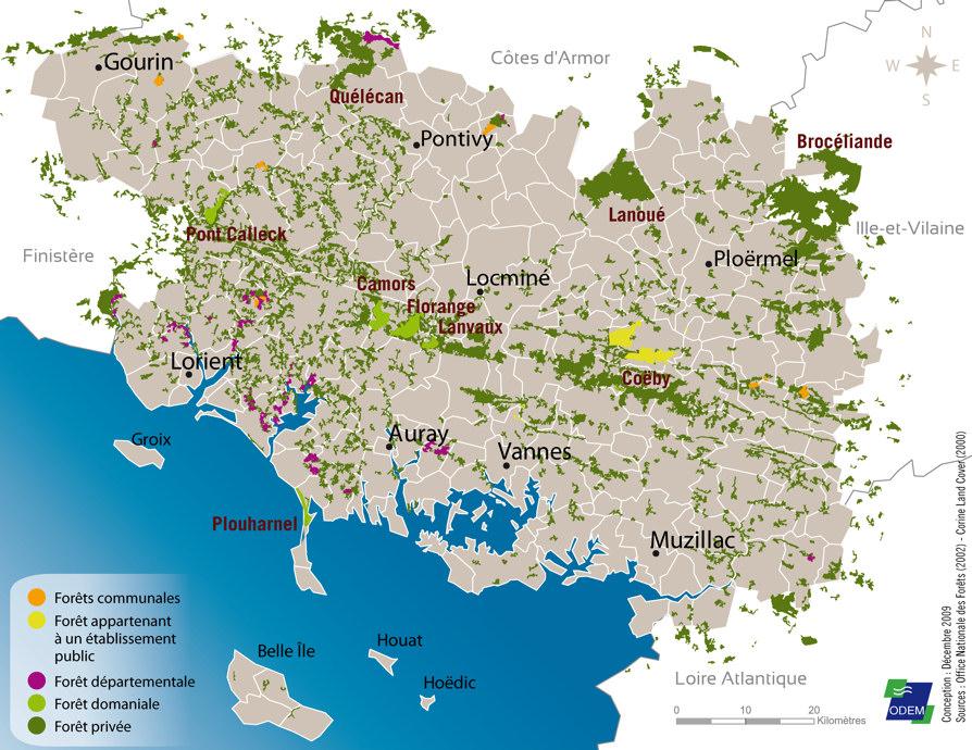Carte Foret Bretagne.Conseil Departemental Du Morbihan Environnement Atlas De